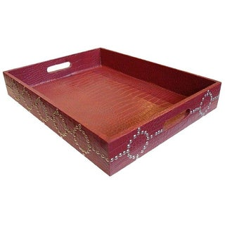 Large Red Studded Croc print Tray