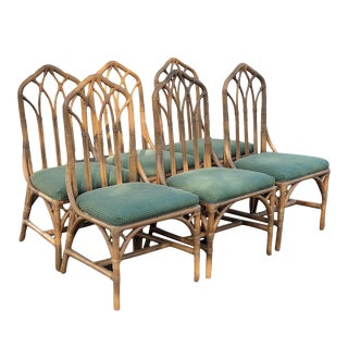 1970s Vintage Rattan Chippendale Cathedral Chairs- Set of 6 For Sale