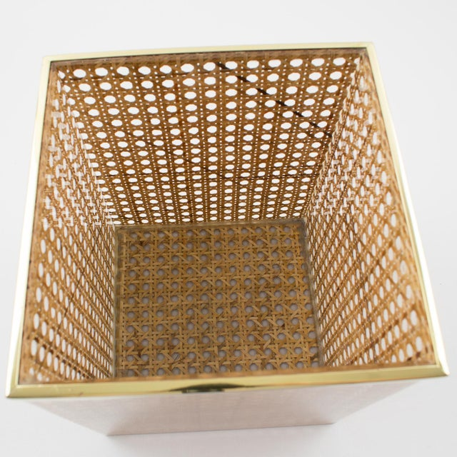 1970s Christian Dior Home Collection 1970s Lucite and Rattan Waste Basket For Sale - Image 5 of 11