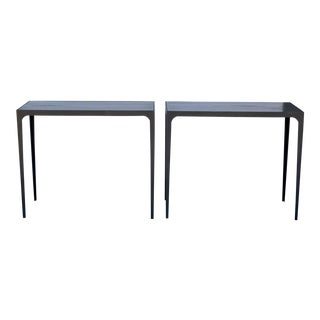 Pair of 'Esquisse' Ebonized Grooved Oak and Iron Side Tables by Design Frères For Sale