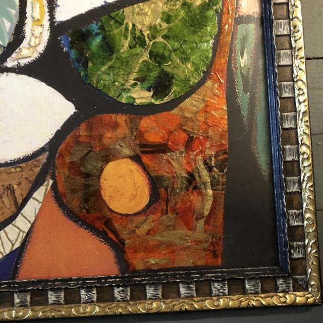 Black Original Contemporary Large Abstract Modernist Collage Picasso Style Female Reading Framed For Sale - Image 8 of 11
