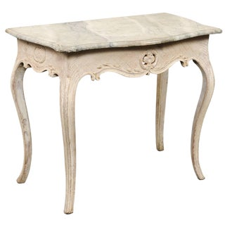 18th Century Swedish Wood & Hand-Painted Faux Marble-Top Console Table For Sale