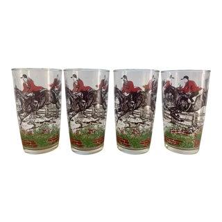 1950's Hazel Atlas Equestrian Fox Hunt Tumbler Glasses- Set of 4 For Sale