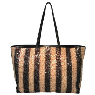 Fendi Striped Wool Sequin Limited Edition Shopper Tote For Sale