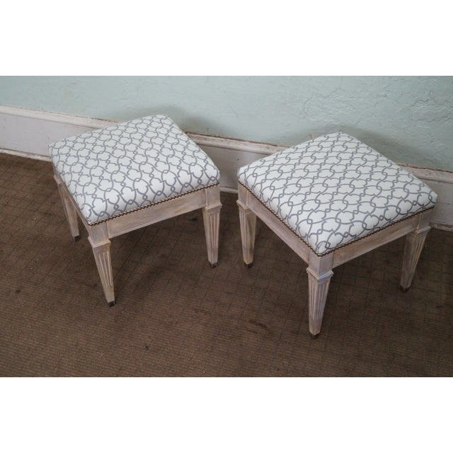Vintage Custom Painted Regency Ottomans - A Pair - Image 10 of 10