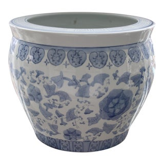 Blue and White Chinese Chinoiserie Style Fishbowl Planter