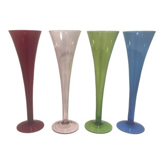 Mid-Century Multi Color Champagne Glass Trumpet Flute Stemware - Set of 4 For Sale