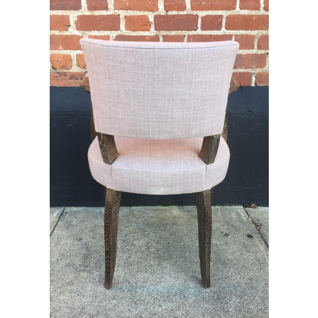 1950s Set of Four Lavender Linen Armchairs For Sale - Image 5 of 7