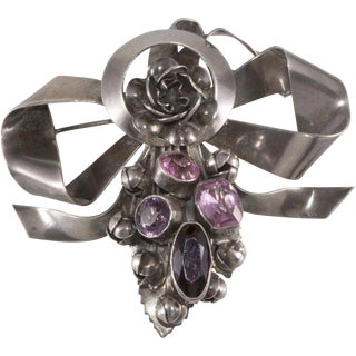 Hobe' Brooch Pin 1940s Vintage Sterling Silver Bow Purple Pink Rhinestones Flowers For Sale