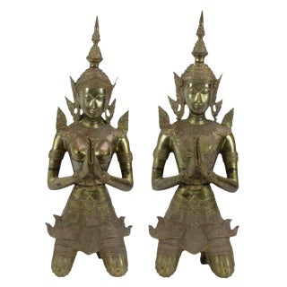 Pair Of Brass Thai Teppanom Angels For Sale