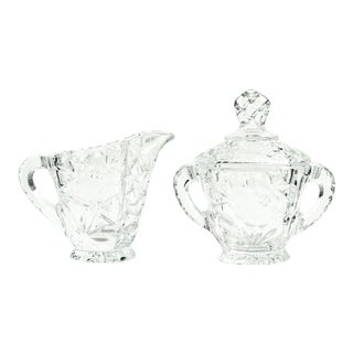 20th Century Art Deco Rose Pattern Crystal Creamer & Sugar Bowl - 2 Pieces For Sale