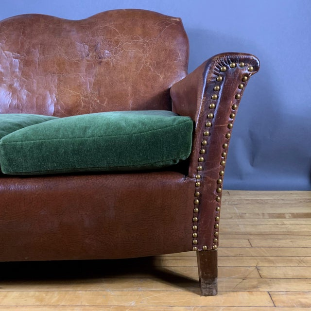 Phenomenal 1930S Cognac Leather 3 Seat Sofa New Mohair Cushions Gmtry Best Dining Table And Chair Ideas Images Gmtryco