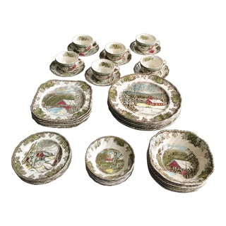 Johnson Brothers English Friendly Village Dinnerware - 42 Pieces For Sale