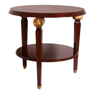 Mid-Century Maison Jansen Style Center Table Tiered Mahogany For Sale
