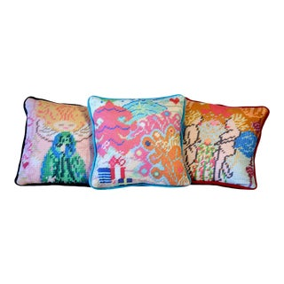 Textile Art, Angels and Tree Velvet Pillows, Feather Down - Set of 3, Last Call! For Sale