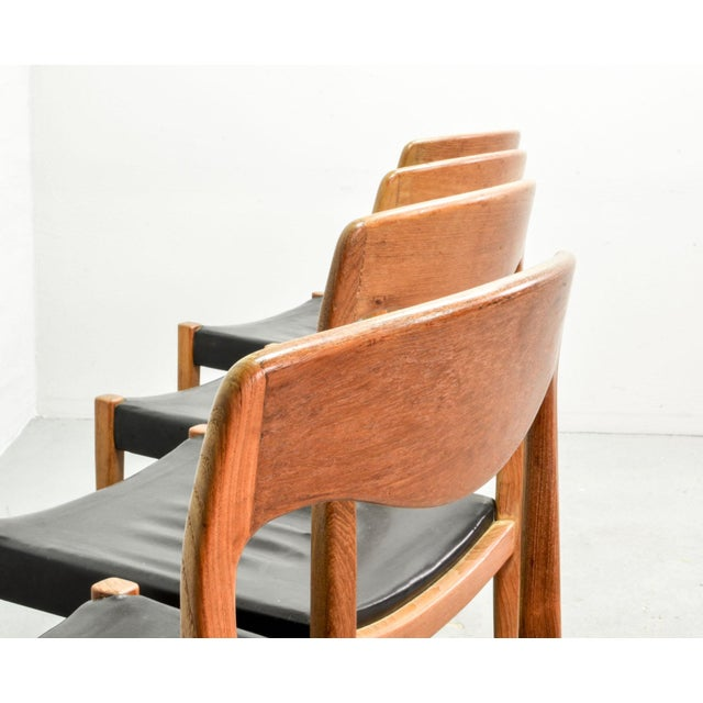 Set of Four Mid-Century Scandinavian Design Leatherette Dining Chairs After n.o. Moller, Early Edition Model 71, Denmark, 1950s For Sale - Image 6 of 12
