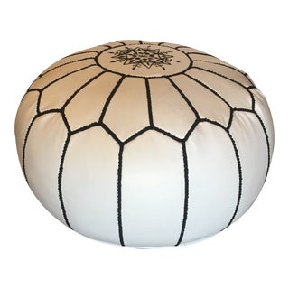 Black and White Moroccan Hand - Stitched Custom - Made Leather Pouf For Sale