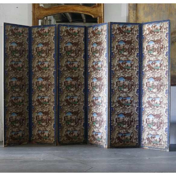 Late 19th C. French Wallpaper Screens For Sale In West Palm - Image 6 of 6