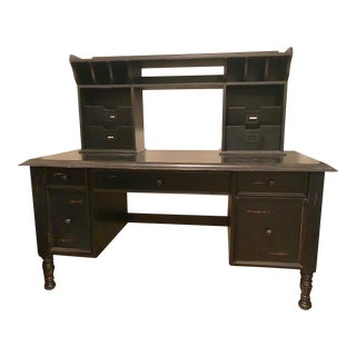 American Classical Black Desk and Storage Hutch For Sale