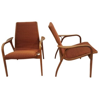 Pair of Yngve Ekstrom of Sweden Lounge Chairs For Sale
