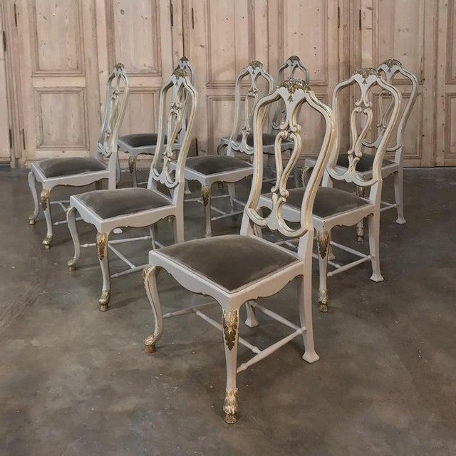 Silk Eight 19th CenturyPainted and Gilded Italian Dining Chairs- Set of 8 For Sale - Image 7 of 13