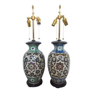 19th Century Fischer Vases Mounted as Lamps - a Pair For Sale