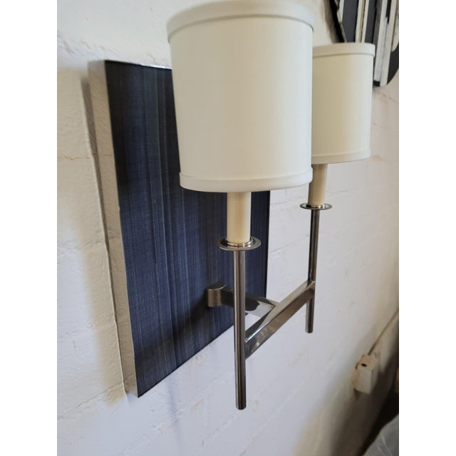 Contemporary Paul Marra Design Double Arm Horsehair Sconces - a Pair For Sale - Image 3 of 9