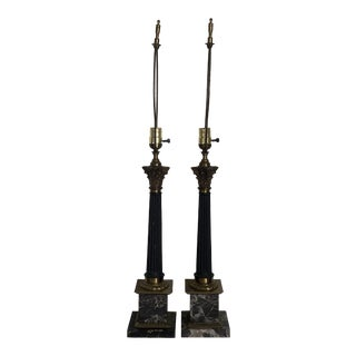 1960s Mid-Century Italian Neoclassical Black Marble Lamps - a Pair For Sale