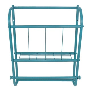 Vintage Aqua Blue Bathroom Wire Metal Magazine & Towel Rack