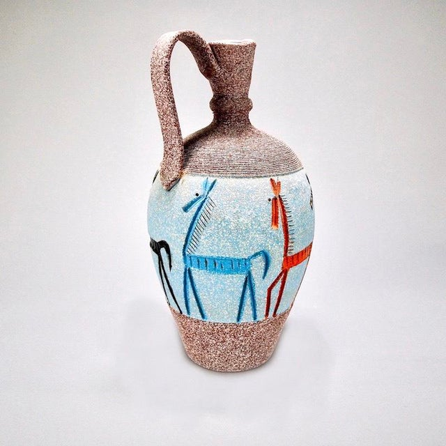 1970s Tall Fratelli Vase With Horses For Sale - Image 5 of 7
