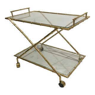 Hollywood Regency Brass Faux Bamboo Two-Tier Cart For Sale