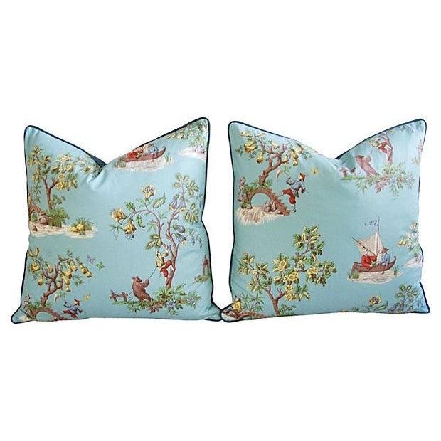 Powder Blue Scalamandré Pillows - A Pair - Image 7 of 7