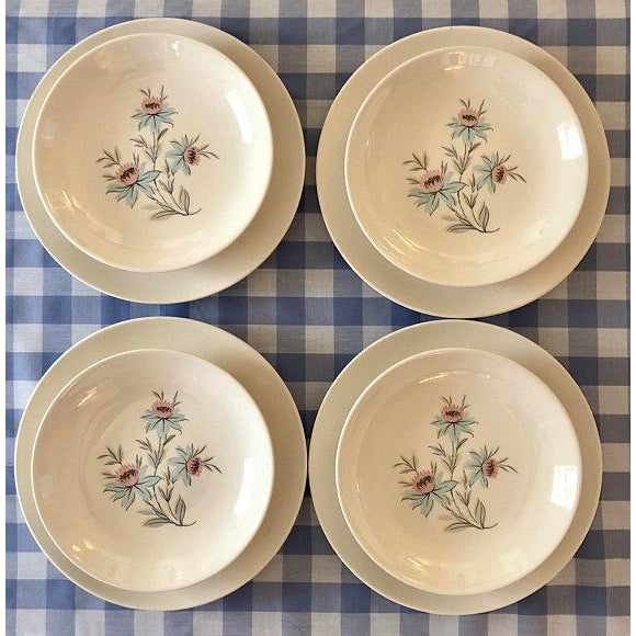 Mid-Century Modern Pink & Blue Floral Plates - Set of 8 For Sale - Image 11 of 11