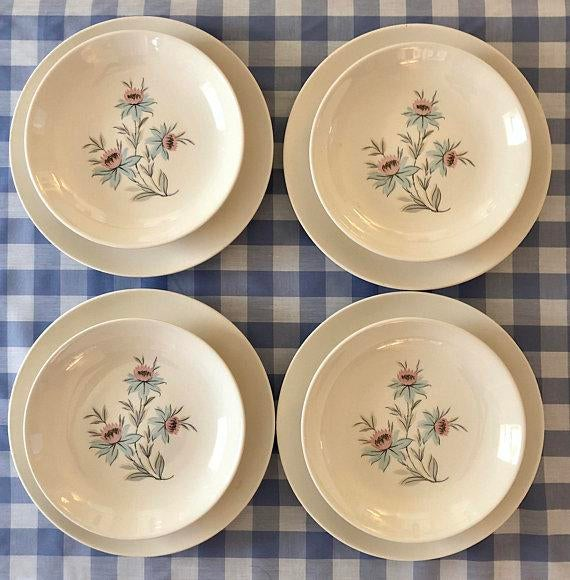 Mid-Century Modern Pink u0026 Blue Floral Plates - Set of 8 - Image 11 & Mid-Century Modern Pink u0026 Blue Floral Plates - Set of 8 | Chairish