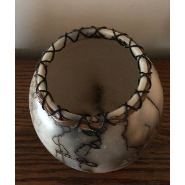2000s Horse Hair Pottery With Lacing For Sale - Image 5 of 7