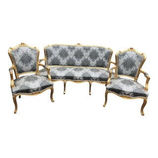 1960s Vintage Modern French Louis XVI Style Living Room Set- Set of 3 For Sale