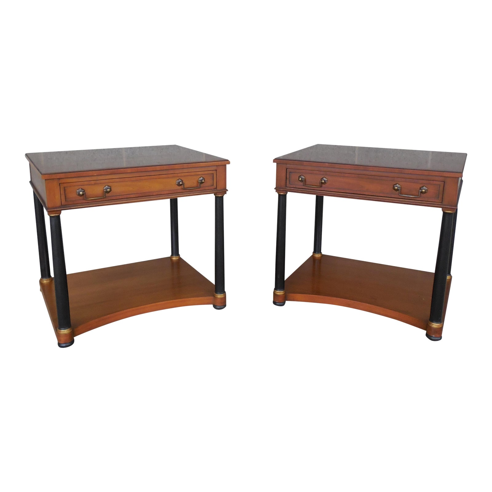Henredon Heritage Regency Neo Classical Style Nightstands  A Pair -