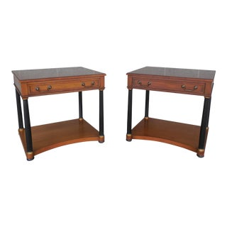 Henredon Heritage Regency Neo-Classical Style Nightstands - a Pair
