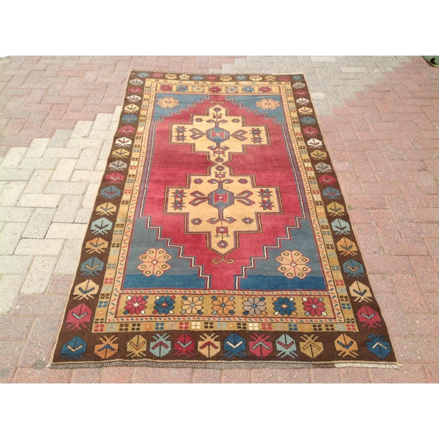 Textile Vintage Anatolian Area Rug - 4′ × 7′7″ For Sale - Image 7 of 7