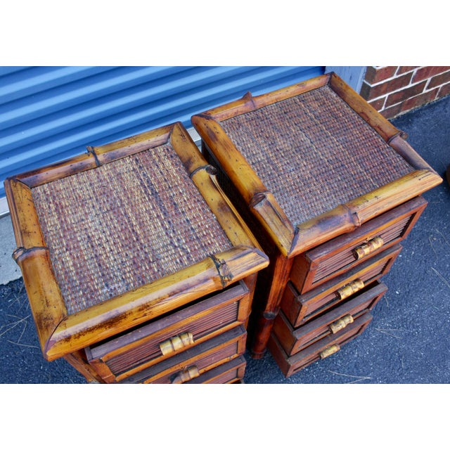 Bamboo Wicker Chests of Drawers / Nightstands - a Pair - Image 6 of 8