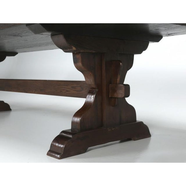 Antique French Oak Trestle Dining Table For Sale - Image 4 of 11