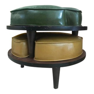 Vintage Mid Century Ethan Allen Round Stackable Ottomans- A Pair For Sale