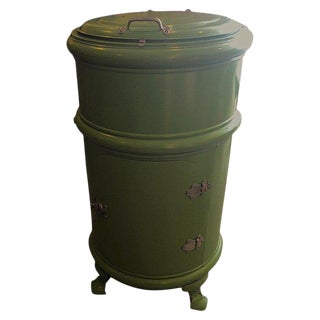 Early Round Steel Ice Box as Unique Bar in Enameled Green For Sale