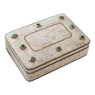 1970's Maitland-Smith Marble and Malachite With Brass Accents Box