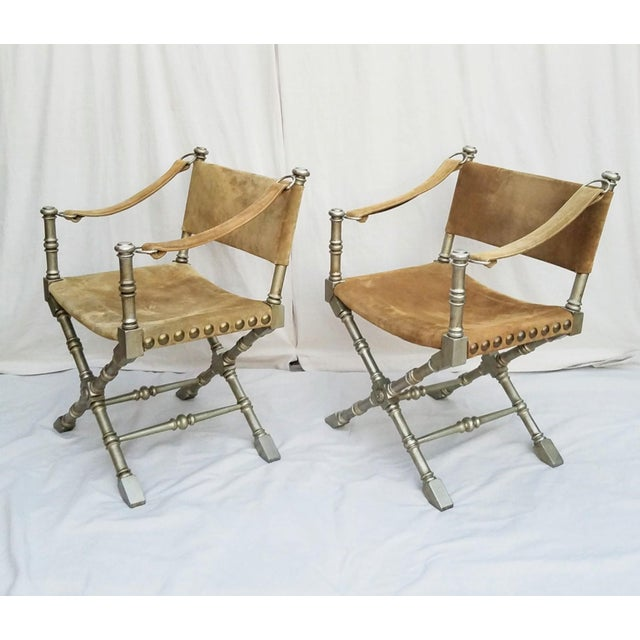 Hollywood Regency, Campaign Safari Style chairs made by Drexel circa 1950's. Faux bamboo Upholstered in a taupe colored...