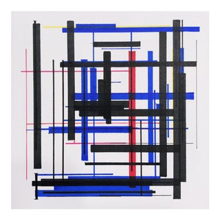 """Abstract """"Arrangement in Red, Yellow, Blue, and Black"""" Drawing by Brandon Woods For Sale"""