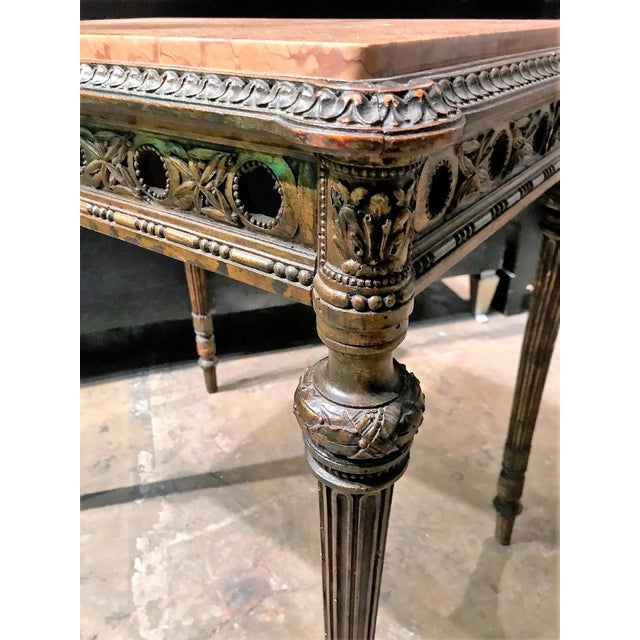 Antique 1890s French Giltwood and Marble Top Side Table - Image 3 of 4