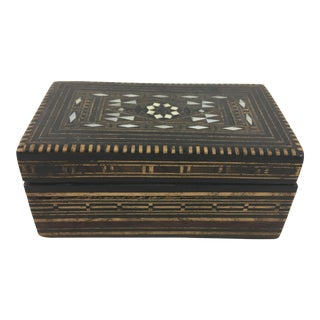 Moroccan Wood and Mother of Pearl Inlay Box