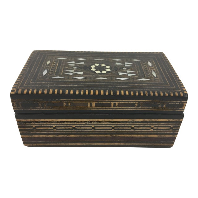 Moroccan Wood and Mother of Pearl Inlay Box For Sale