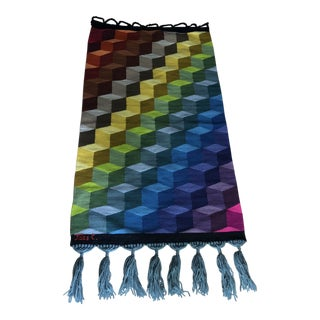 Geometric Multicolored Handwoven Tapestry Art